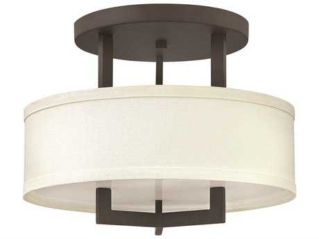 Hinkley Lighting Hampton Buckeye Bronze Three-Light Incandescent Semi-Flush Mount Light HY3200KZ