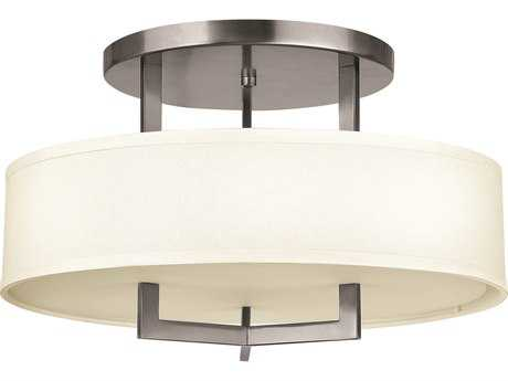 Hinkley Lighting Hampton Antique Nickel Three-Light Incandescent Semi-Flush Mount Light HY3201AN