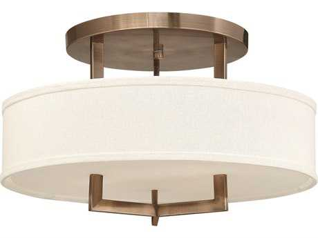 Hinkley Lighting Hampton Brushed Bronze Three-Light Incandescent Semi-Flush Mount Light HY3201BR