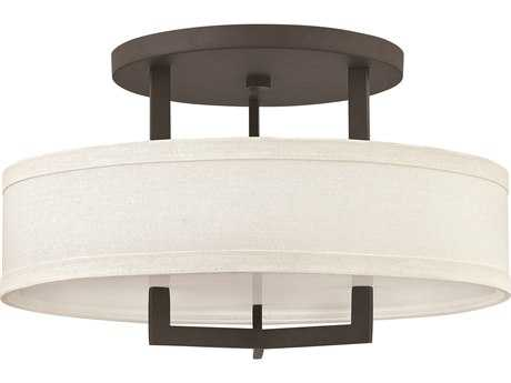 Hinkley Lighting Hampton Buckeye Bronze Three-Light Incandescent Semi-Flush Mount Light HY3201KZ