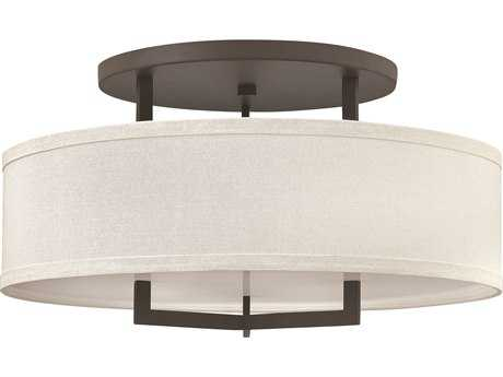 Hinkley Lighting Hampton Buckeye Bronze Three-Light Incandescent Semi-Flush Mount Light HY3211KZ