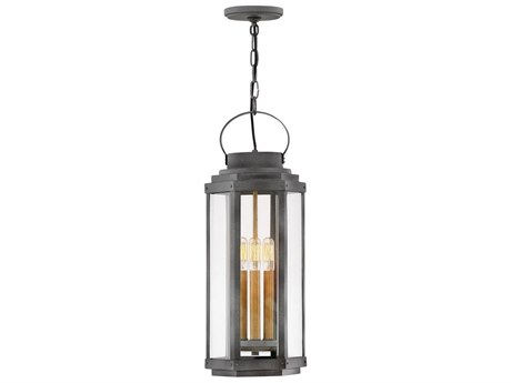 Hinkley Lighting Aged Zinc 3-light Glass Outdoor Hanging Light