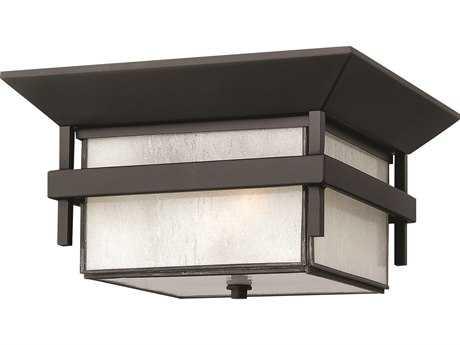 Hinkley Lighting Harbor Satin Black Two-Light Incandescent Outdoor Ceiling Light HY2573SK