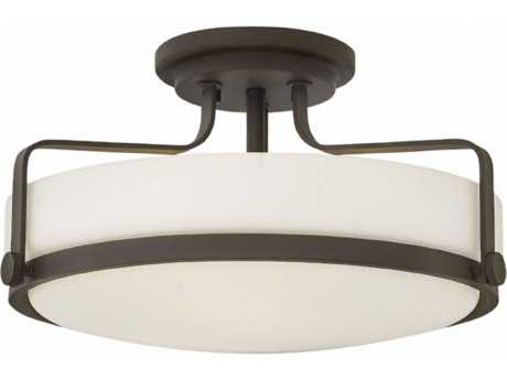 Hinkley Lighting Harper Oil Rubbed Bronze with Etched Opal Glass Three-Light 18'' Wide Incandescent Semi-Flush Mount Light HY3643OZ
