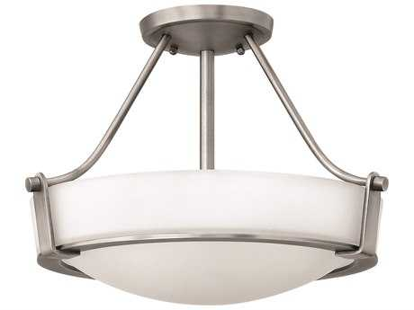 Hinkley Lighting Hathaway Antique Nickel Three-Light Incandescent Semi-Flush Mount Light