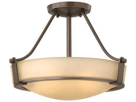Hinkley Lighting Hathaway Olde Bronze LED / Light Amber Glass Semi-Flush Mount Light HY3220OBLED
