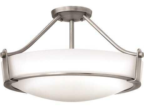 Hinkley Lighting Hathaway Antique Nickel Four-Light Incandescent Semi-Flush Mount Light HY3221AN
