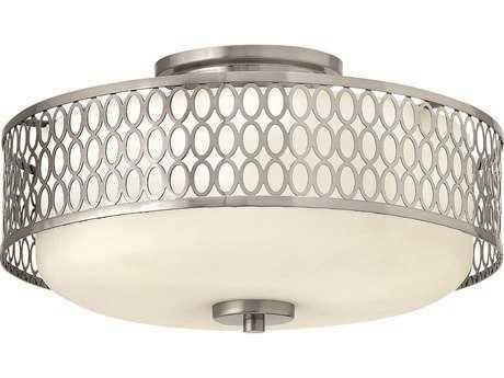 Hinkley Lighting Jules Brushed Nickel Three-Light Incandescent Semi-Flush Mount Light