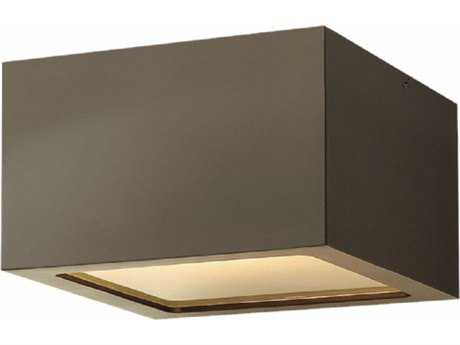 Hinkley Lighting Kube Bronze with Etched Lens Glass LED Outdoor Flush Mount
