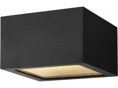 Hinkley Lighting Kube Satin Black with Etched Lens Glass LED Outdoor Flush Mount