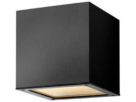 Hinkley Lighting Kube Satin Black with Etched Lens Glass LED Outdoor Wall Light PatioLiving