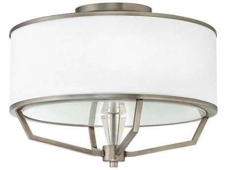 Hinkley Lighting Larchmere English Nickel Three-Light 18'' Wide Semi Flush Mount Light