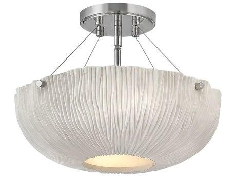 Hinkley Lighting Lisa Mcdennon Shell White 3-light 17'' Wide Glass Semi-Flush Mount