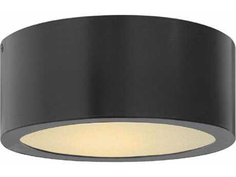 Hinkley Lighting Luna Satin Black with Etched Lens Glass LED Outdoor Flush Mount HY1665SK