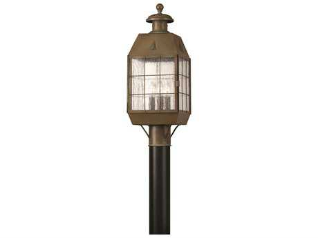 Hinkley Lighting Nantucket Aged Brass Three-Light Outdoor Post Light HY2371AS