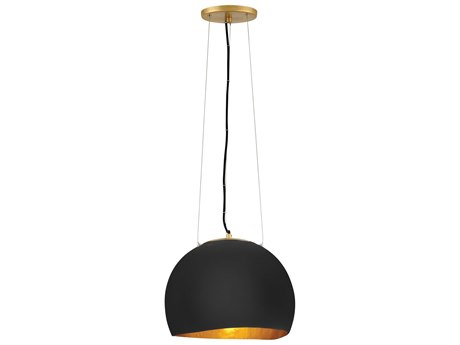 Hinkley Lighting Nula Shell Black / Gold Leaf 14'' Wide Pendant HY35904SHB