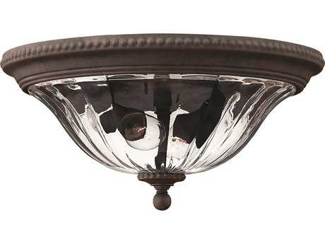 Hinkley Lighting Oxford Midnight Bronze Two-Light Outdoor Ceiling Light HY1243MN