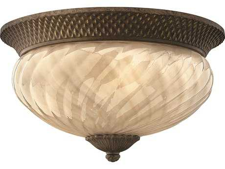 Hinkley Lighting Plantation Pearl Bronze Three-Light Incandescent Outdoor Ceiling Light HY2123PZ