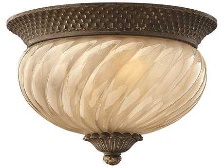 Hinkley Lighting Plantation Pearl Bronze Two-Light Incandescent Outdoor Ceiling Light HY2128PZ