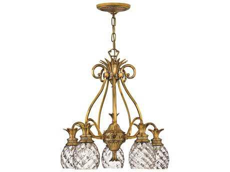 Hinkley Lighting Plantation Burnished Brass Five-Light 22 Wide Chandelier HY4885BB