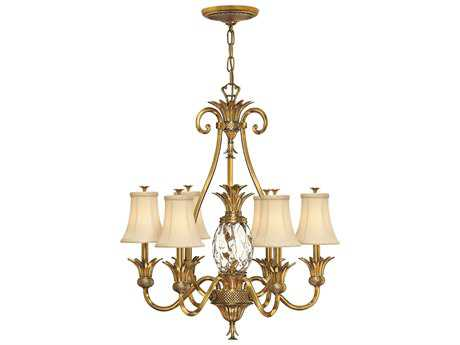 Hinkley Lighting Plantation Burnished Brass Seven-Light 28 Wide Chandelier HY4886BB