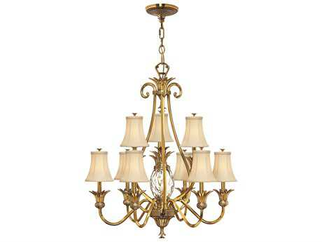Hinkley Lighting Plantation Burnished Brass Ten-Light 33 Wide Chandelier HY4887BB