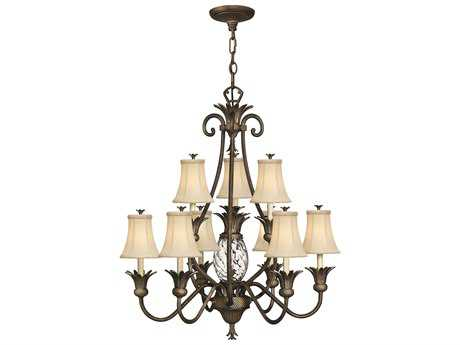 Hinkley Lighting Plantation Pearl Bronze Ten-Light 33 Wide Chandelier HY4887PZ