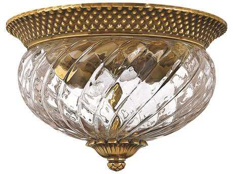 Hinkley Lighting Plantation Burnished Brass Two-Light Flush Mount Light HY4102BB