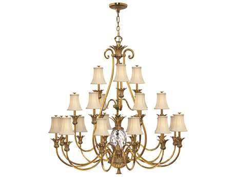 Hinkley Lighting Plantation Burnished Brass 22-Light 56 Wide Grand Chandelier HY4889BB