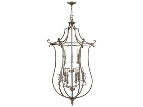 Hinkley Lighting Plymouth Polished Antique Nickel Nine-Light 30 Wide Grand Chandelier HY4259PL