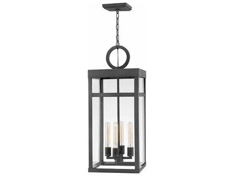 Hinkley Lighting Porter Aged Zinc Glass Outdoor Hanging Light