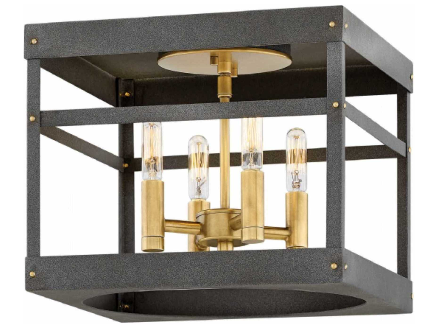 pretty nice 3660b f2da6 Hinkley Lighting Porter Heritage Brass Four-Light 12'' Wide Flush Mount  Light