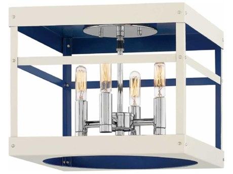 Hinkley Lighting Porter Polished Nickel Four-Light 12'' Wide Flush Mount Light