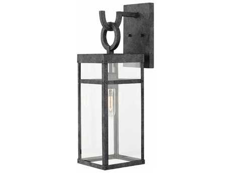 Hinkley Lighting Porter Aged Zinc with Clear Glass Outdoor Wall Light HY2804DZ