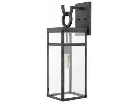 Hinkley Lighting Porter Aged Zinc with Clear Glass Outdoor Wall Light HY2805DZ