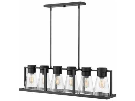 Hinkley Lighting Refinery Black with Clear Glass Six-Light 44'' Wide Island Light HY63306BKCL