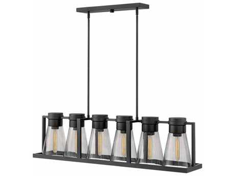 Hinkley Lighting Refinery Black with Smoked Glass Six-Light 44'' Wide Island Light HY63306BKSM