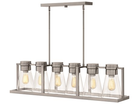 Hinkley Lighting Refinery Brushed Nickel with Clear Six-Light 44'' Wide Island Light HY63306BNCL