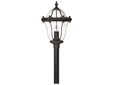 Hinkley Lighting San Clemente Museum Black Three-Light Outdoor Post Light HY2447MB