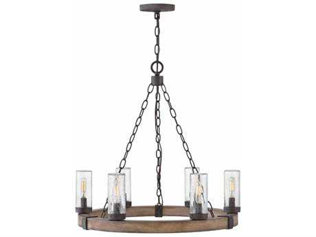 Hinkley Lighting Sawyer Sequoia with Clear Seedy Glass Six-Light Outdoor Chandelier