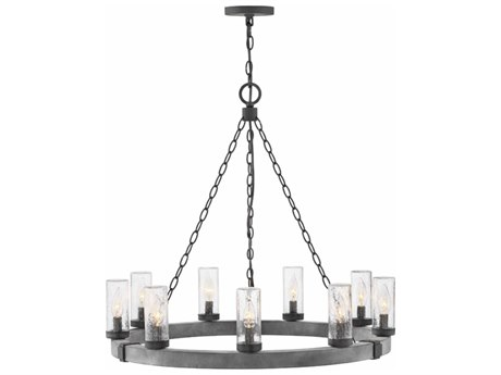 Hinkley Lighting Sawyer Aged Zinc Nine-Light 30'' Wide Outdoor Hanging Light