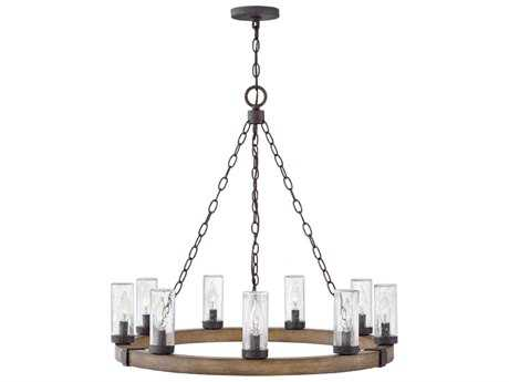 Hinkley Lighting Sawyer Sequoia with Clear Seedy Glass Nine-Light Outdoor Chandelier HY29208SQ