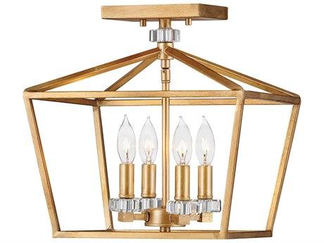 Hinkley Lighting Stinson Distressed Brass 13'' Wide Semi-Flush Mount HY3533DA