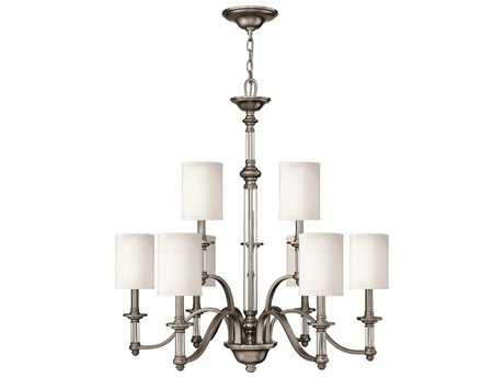 Hinkley Lighting Sussex Brushed Nickel Nine-Light 32 Wide Chandelier HY4798BN