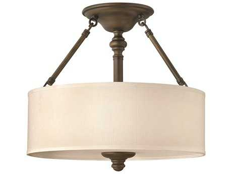 Hinkley Lighting Sussex English Bronze Three-Light Semi-Flush Mount Light HY4791EZ