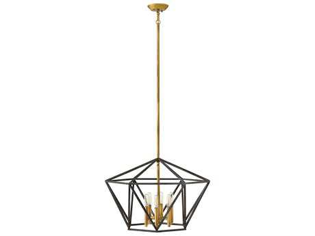 Hinkley Lighting Theory Aged Zinc Six-Light Stem Hung Pendant Light