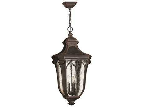 Hinkley Lighting Trafalgar Mocha Three-Light Incandescent Outdoor Pendant Light