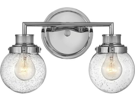 Hinkley Lighting Chrome 2-light Glass Vanity Light