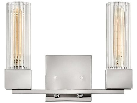 Hinkley Lighting Polished Nickel 2-light Glass Vanity Light