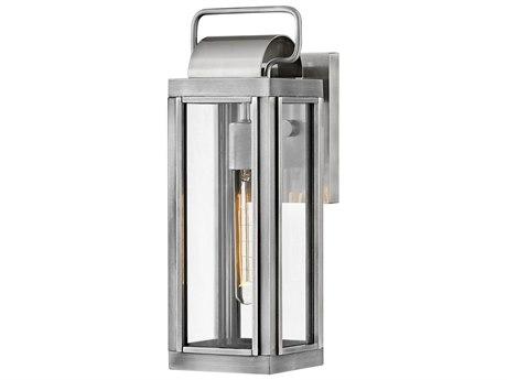 Hinkley Lighting Antique Brushed Aluminum 1-light 16'' High Glass Outdoor Wall Light